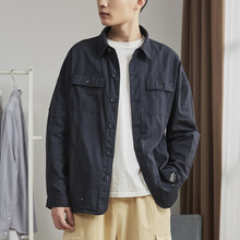 Men Cargo Jacket Vintage Loose Shirt Casual Multi Pockets Cotton Tops Long Sleeve Military Coat Summer Polyester 923-230