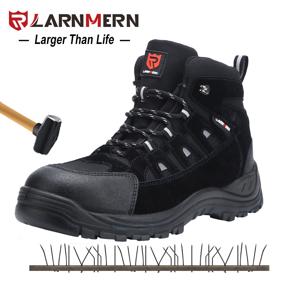 LARNMERN S1P Men's Steel Toe Safety Boots Outdoor Work Safety Shoes Steel Midsole SRC Non Slip Anti-static Security Sneakers halinfer men s anti static non slip ankle boots outdoor steel toe cap work