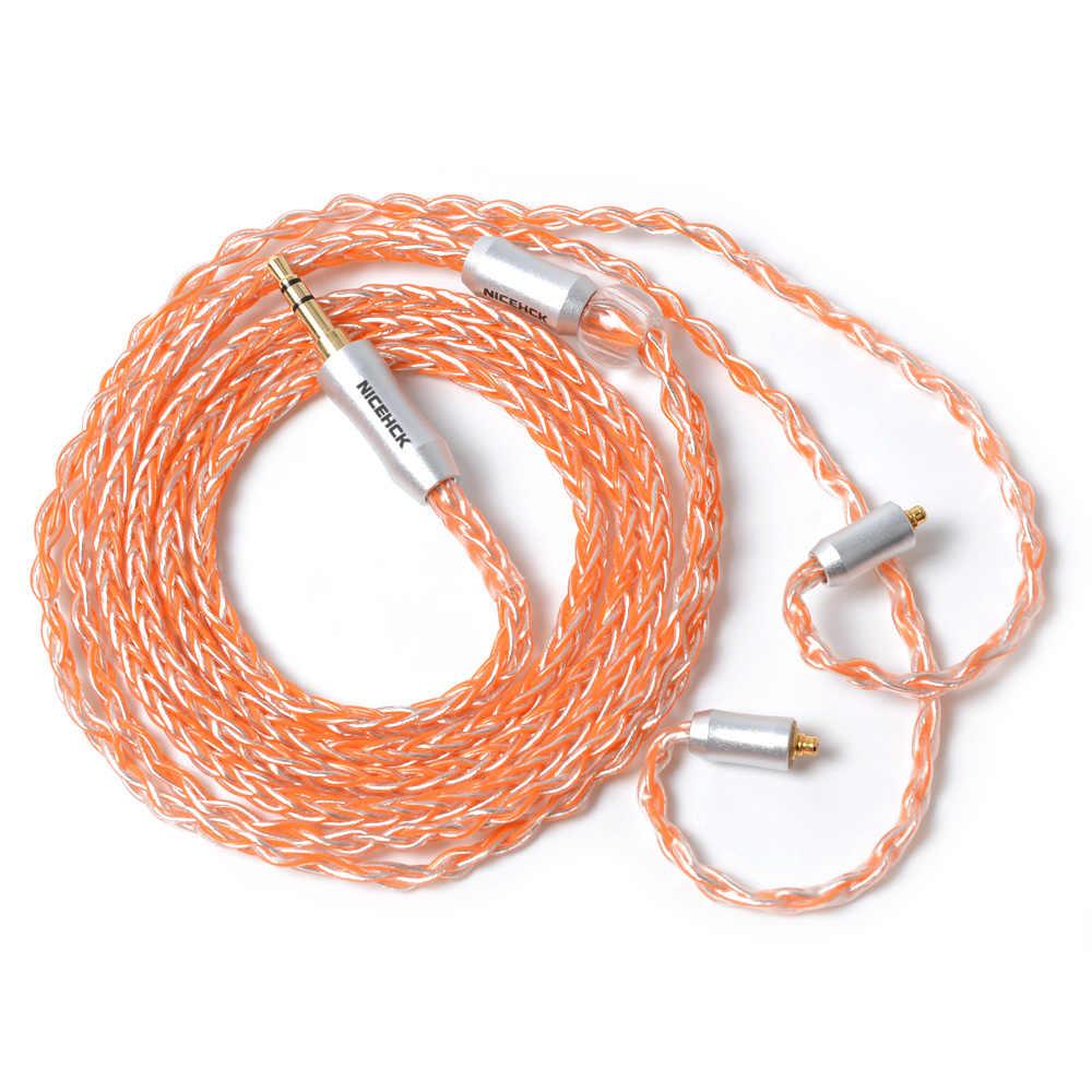 NICEHCK MMCX/2Pin złącze 3.5/2.5/4.4mm wyważone 8 rdzeń posrebrzane kabel do TRN V90 /V80 ZSX ZS10 CCACA4 C10 NICEHCK EBX