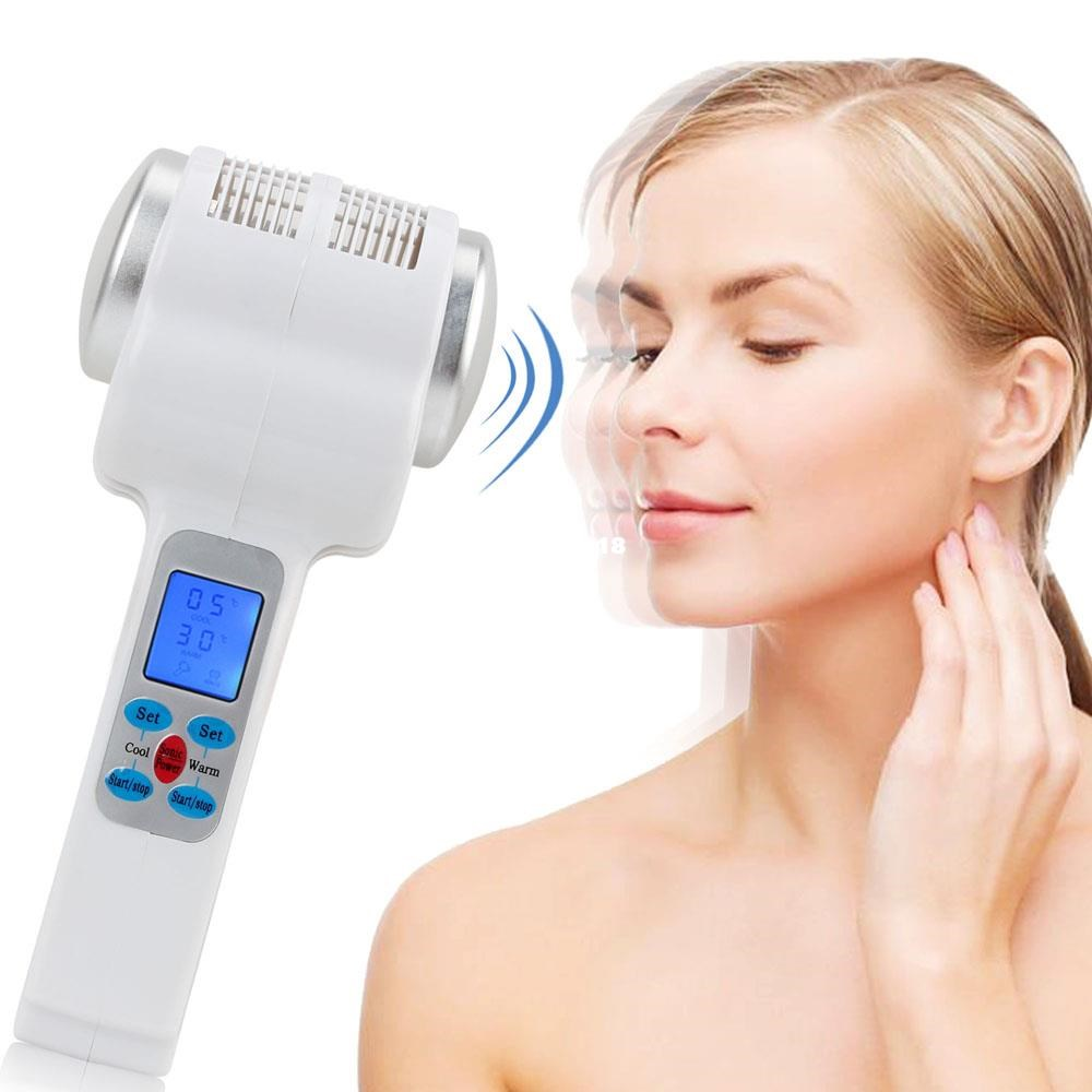 Ultrasonic LCD Cryotherapy Hot Cold Hammer Lymphatic Face Tighten Lifting Massager Facial Beauty Salon Equipment