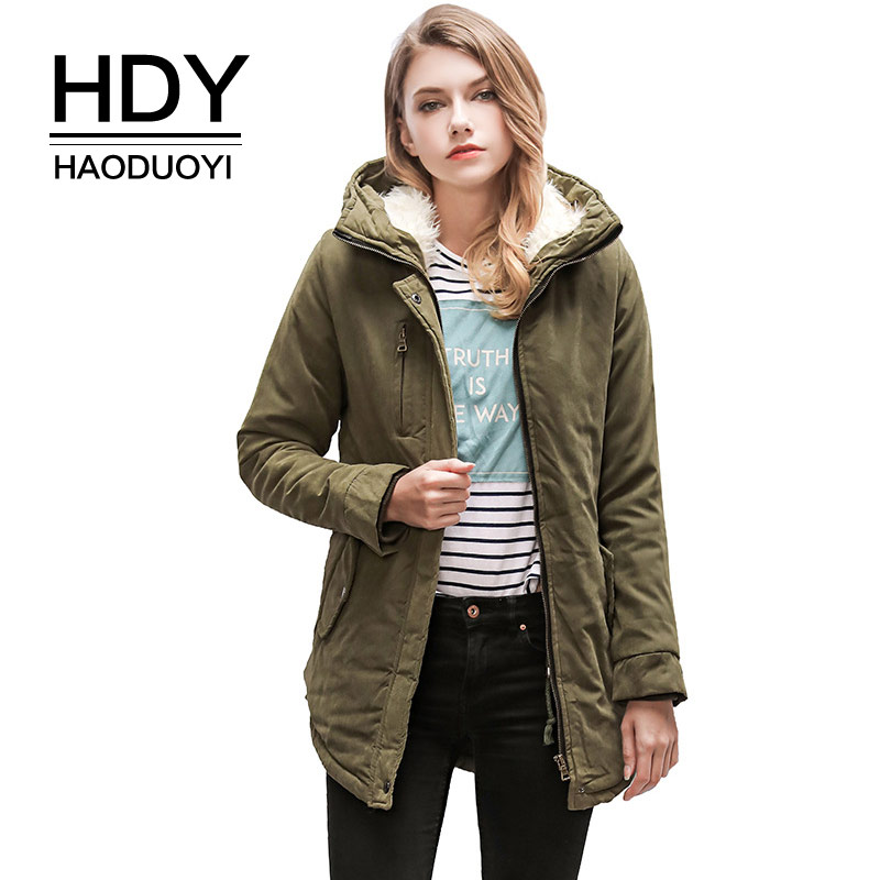 HDY Haoduoyi 2018 Winter Women   Parkas   Woolen Warm Army green Coats Hooded Jackets Fashion Thick Outwear Irregular Oversize Coat