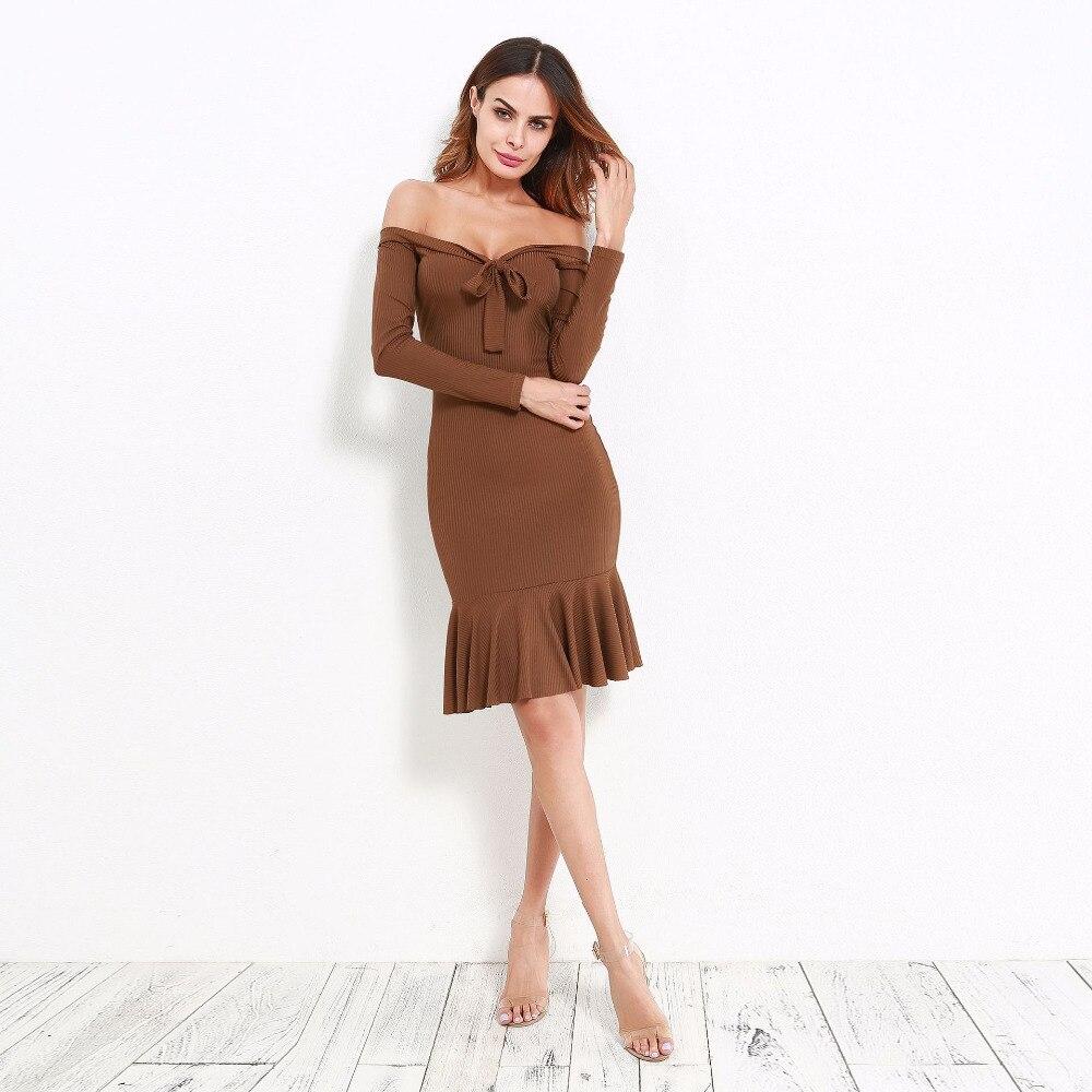 8f0a72f716b6 Chicanary Sexy Off Shoulder Bodycon Dresses with Bowknot Women Ruffles Hem  Pencil Dress