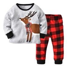 Одежда для рождественских праздников; детская одежда; брюки в клетку с рождественским принтом оленя для мальчиков; пижамный комплект; хлопковый домашний костюм для маленьких девочек