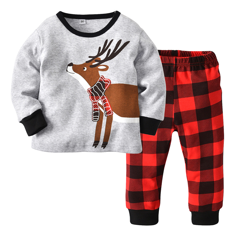 Christmas Clothes Children's Clothing Boy Printed Christmas Fawn Plaid Pants   Pajamas     Set   Baby Girl Cotton Kids Home Suit