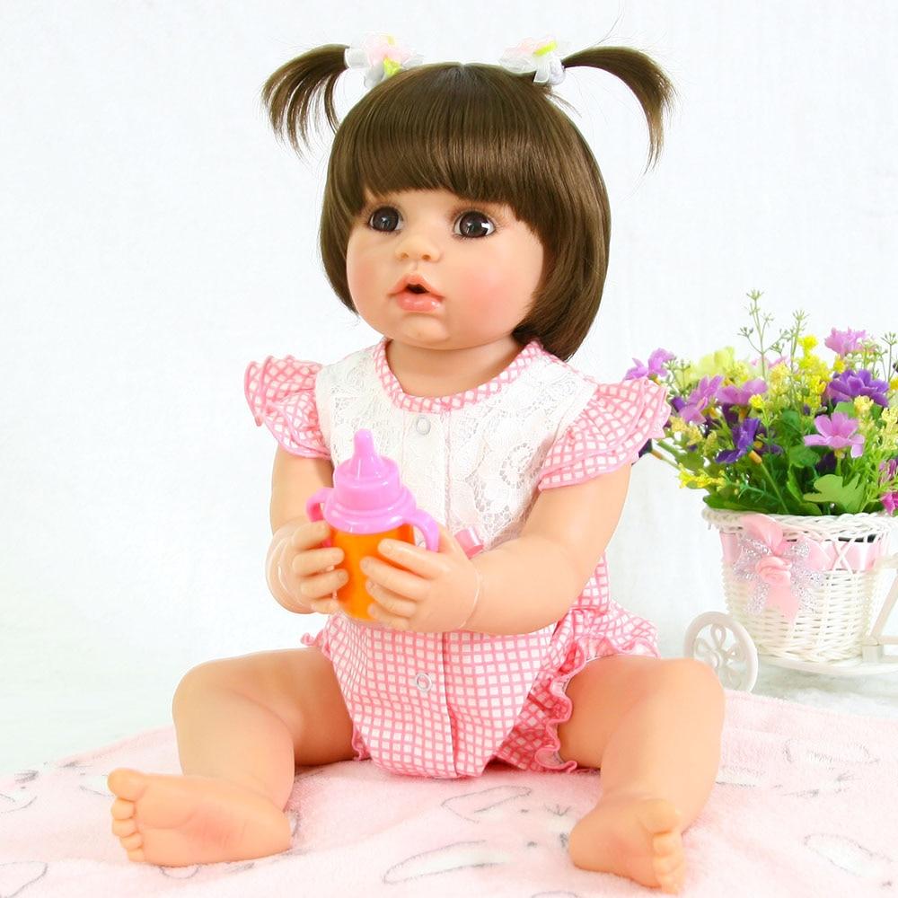 Big eyes Reborn Bonecas 55cm Open mouth Full Silicone Reborn Baby Doll DIY Toys For Kid As Girl gift Brinquedos bebe masha