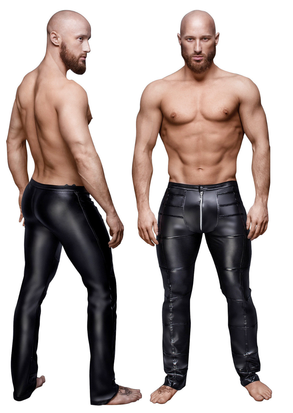 New Mens Skinny Faux PU Leather Pants Shiny Black Pants Trousers Nightclub fashion Stage Costumes for Singers Dancer Male