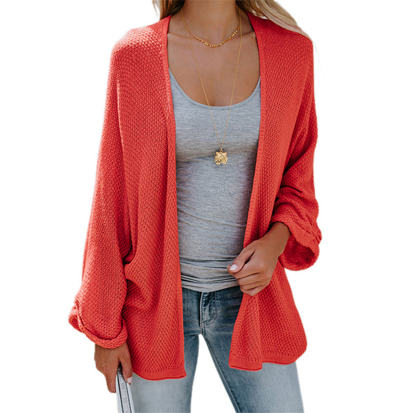 Spring Autumn Plus Size Female Thin Red Sweater Coat Bat Sleeves Loose Solid Cardigan Roupas Feminina Yellow Red Black Sweater in Cardigans from Women 39 s Clothing