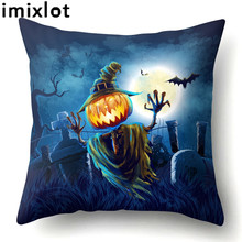 Imixlot Creative Halloween Theme Peach Skin Pillowcase Home Waist Cushion Pillow Pillowcases Living Room Supplies