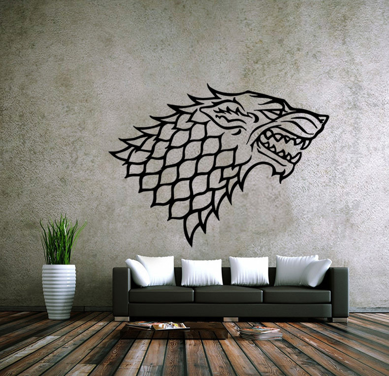 Online Shop Game of Thrones Direwolf Wall Stickers Home Decor For Bedroom  PVC Mural Vinyl Decal House Stark of Winterfell Badge Wall Sticker    Aliexpress. Online Shop Game of Thrones Direwolf Wall Stickers Home Decor For