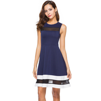 Sexy Illusion Mesh Party Dress O Neck Sleeveless Navy Blue Patchwork Robe Contrast Color Fit And