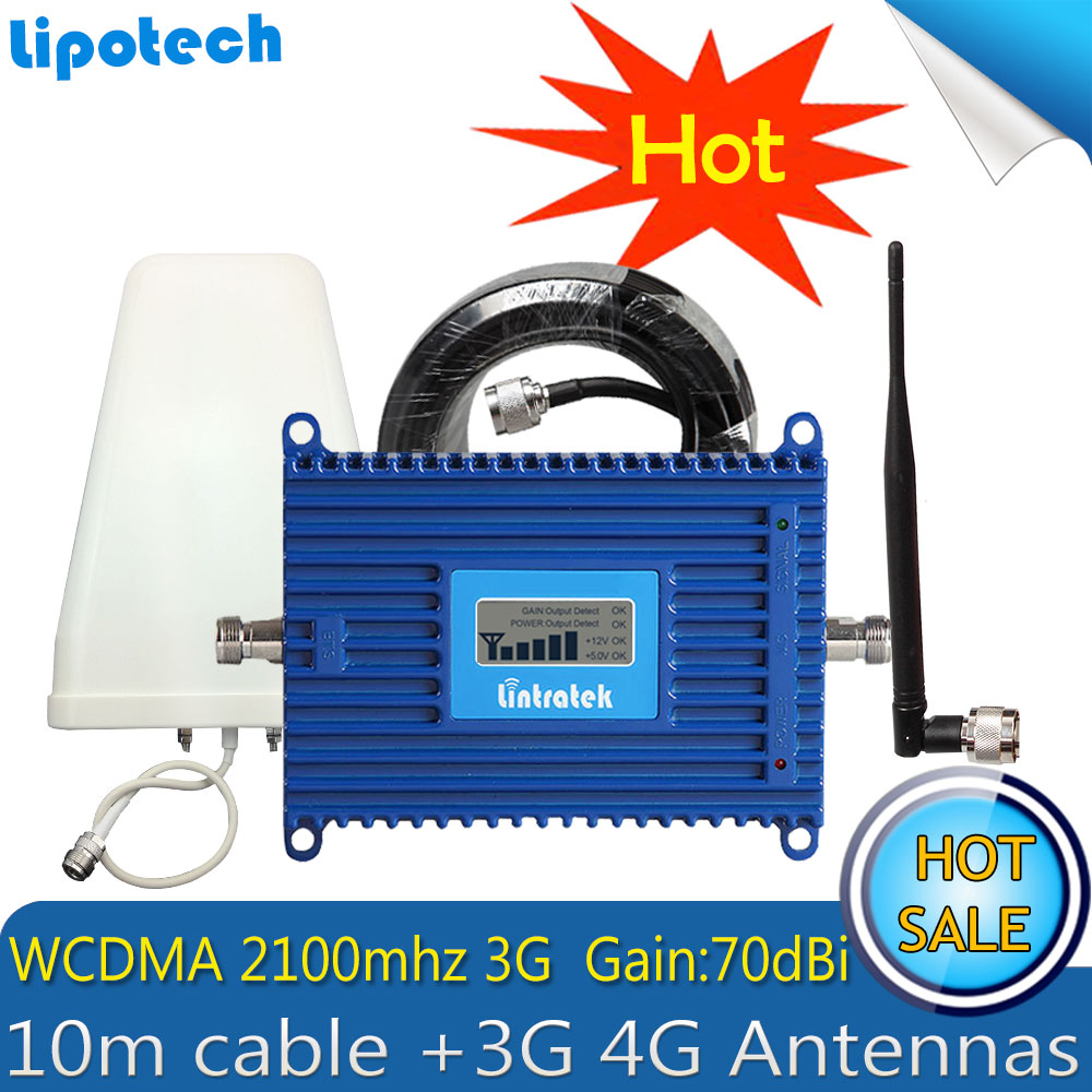 Lintratek WCDMA 2100MHz 3G Mobile Signal Repeater UMTS 70dB Cell Phone Antena Para Celular Signal Booster Amplifier