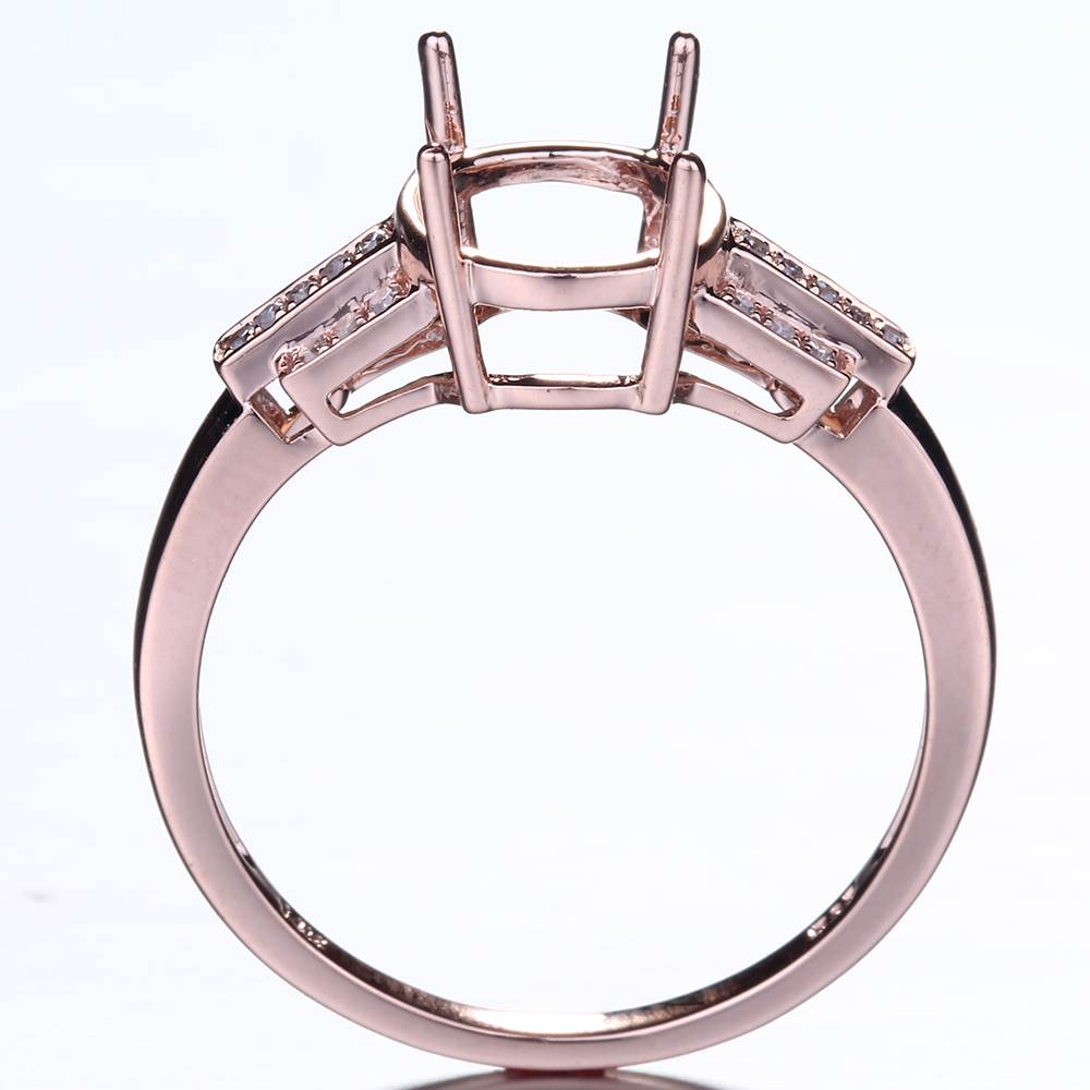 HELON Speciale Ontwerp Oval Cut 10x8mm Solid 10K Rose Gold Pave Natuurlijke Diamant Fijne Sieraden Engagement bruiloft Semi Montage Ring - 4