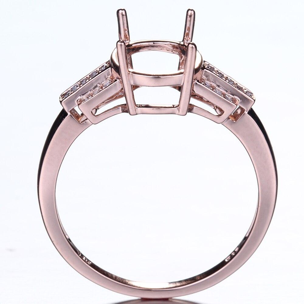 HELON Speciale di Disegno Ovale Cut 10x8mm Solido 10K Rose Gold Pave Diamante Naturale Gioielleria Raffinata di Fidanzamento di Cerimonia Nuziale semi Anello di Montaggio - 4