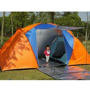 Большая походная палатка на 5-8 человек, двухслойная Водонепроницаемая дорожная палатка с двумя спальнями для семейвечерние, туристическая,...