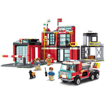 Enlighten 2808 Fire Rescue Station Truck Building Blocks Model kit Bricks Educational Toys for Children Gift