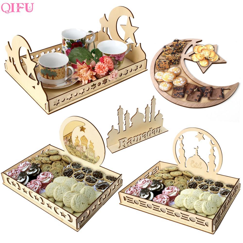 QIFU DIY Eid Wooden Dessert Tray EID MUBARAK Decor For Home Ramadan Decor Pendants Islamic Muslim Party Decor Eid Al Adha