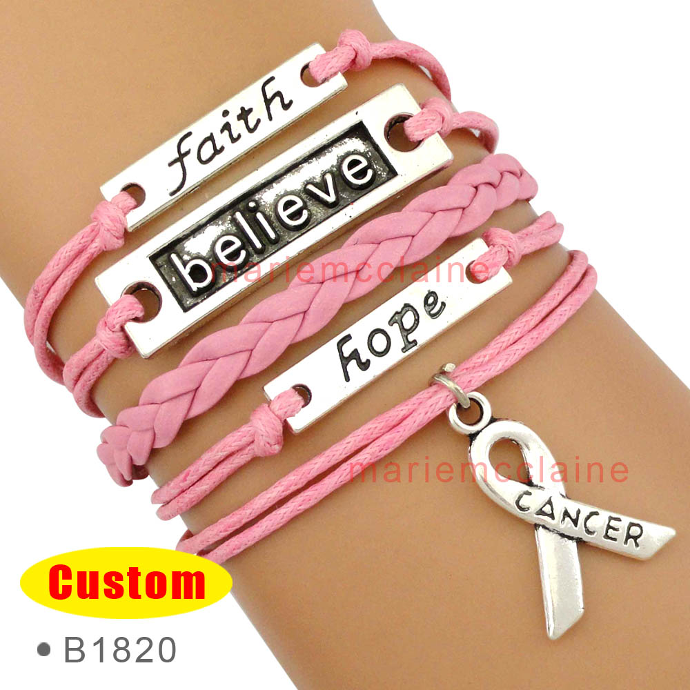 (10 PCS/lot) High Quality Faith Believe Hope Breast Cancer Ribbon Bracelets Survivor Bracelets Jewelry Drop Shipping