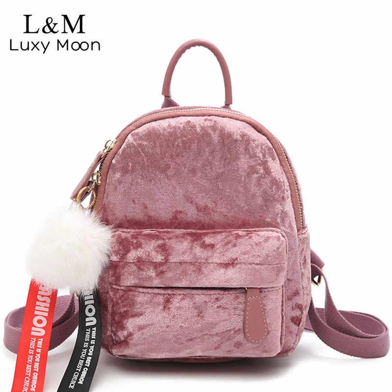 27064b66912a Mini Velvet Backpack Women Velour Backpacks Female Back Pack Teenage Girls  School Bags Cute Pink Small