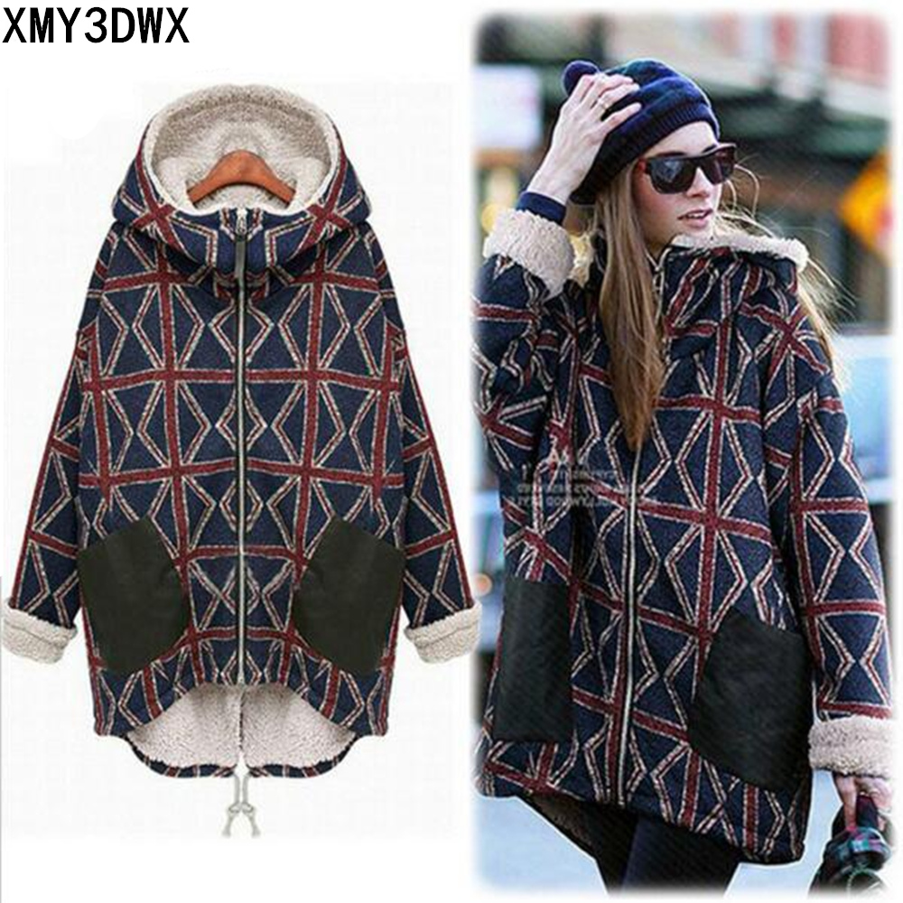2017 European retro winter thick long paragraph lady coat rice word pattern large size plus cashmere warm cotton hooded jacket