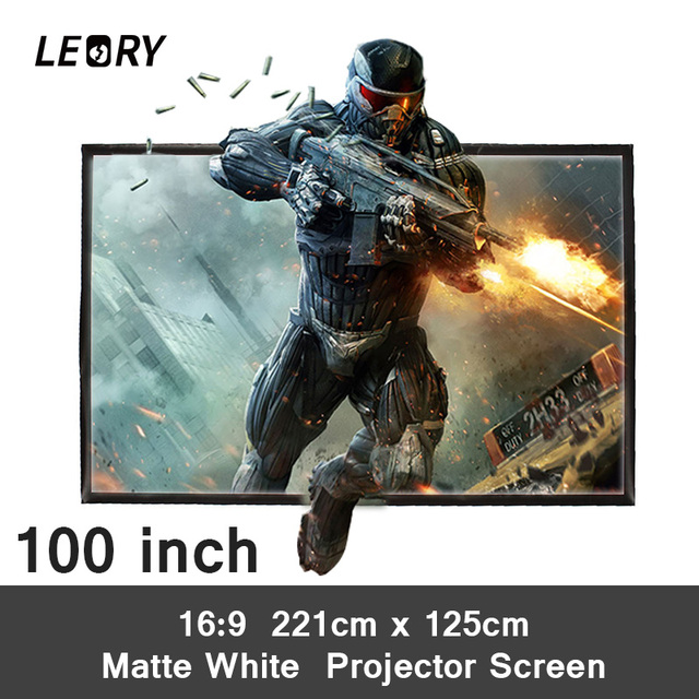 LEORY 100 Inch 16:9 PVC Projection Screen Matt White Portable Projector Screen Fabric For Home Theater Game Office Meeting