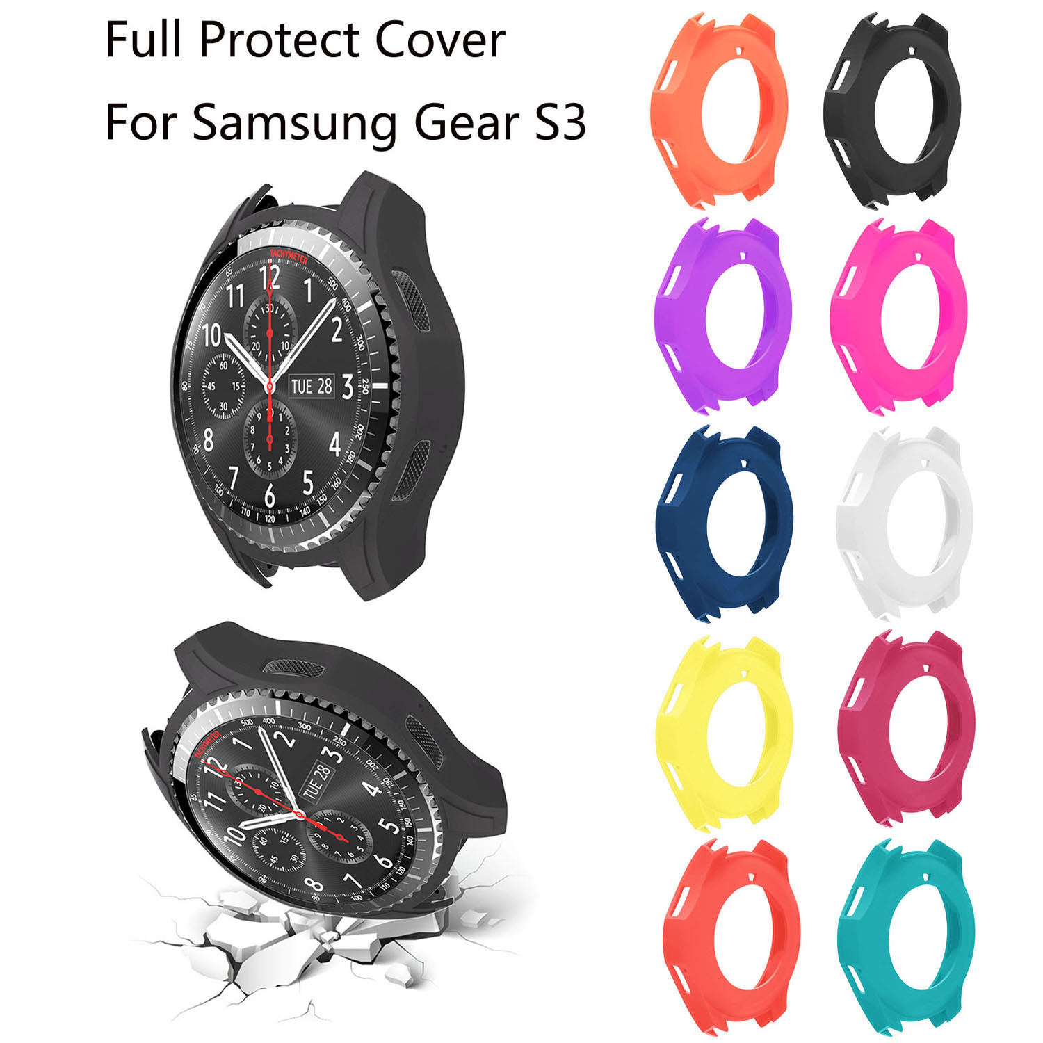 Soft Silicone Protective Cover for Samsung Galaxy Gear S3 Frontier Smart Watch Case Cover Watch Band fashion protective aluminum cover silicone back case for samsung galaxy note 2 n7100 grey