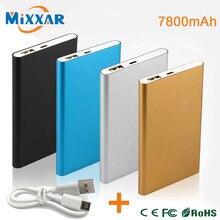 ZK90 Metal Delgado Banco de la Energía 7800 mAh USB Batería de Reserva Externa PowerBank Cargador Portátil Para SmartPhone Universal