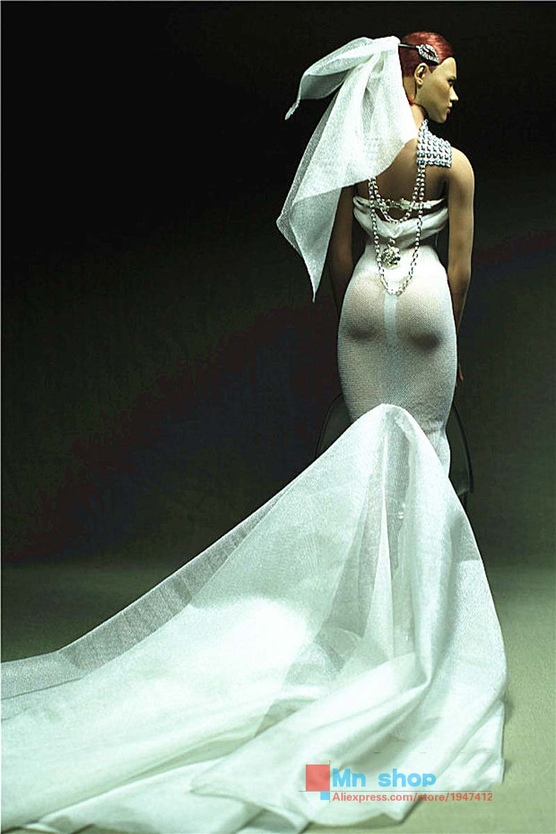 ФОТО Sexy PHICEN Figure Clothing Custom 1/6 Scale Runaway Bride White Dress for Female Seamless Body PHICEN Doll Toys Accessories P20