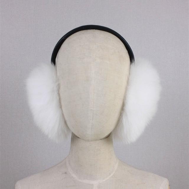 Winter Women Warm Real fox fur Earmuffs Girl's Earlap Ultralarge Imitation Ladie's Plush Ear Muff