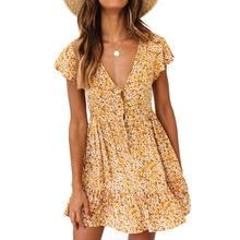 Желтый цветочный принт женское платье Лето 2019 новый бренд богемное платье женщина Boho пляж различные модели Сарафан
