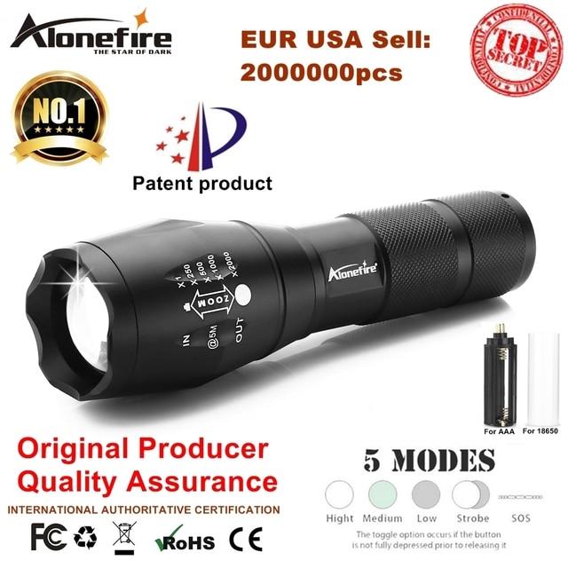 AloneFire E17 XM-L T6 3800LM Aluminium Wasserdichte Zoomable CREE LED Taschenlampe licht für 18650 Akku oder AAA