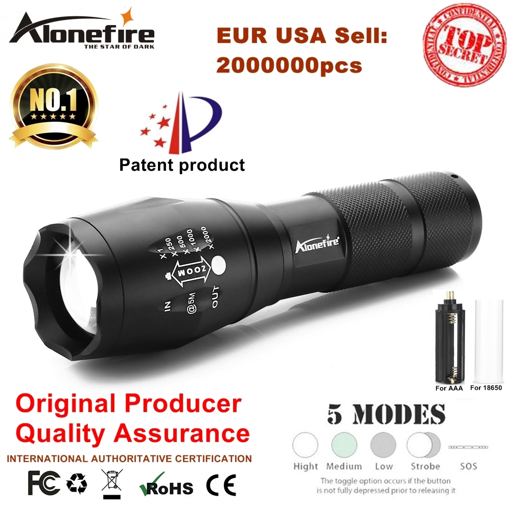AloneFire E17 XM-L T6 5000LM Aluminum Waterproof Zoomable CREE LED Flashlight Torch light for 18650 Rechargeable Battery or AAA 5000lm portable flashlight uniquefire uf 1400 5 mode 4 cree xm l2 led torch lamp for 4 18650 li ion rechargeable battery