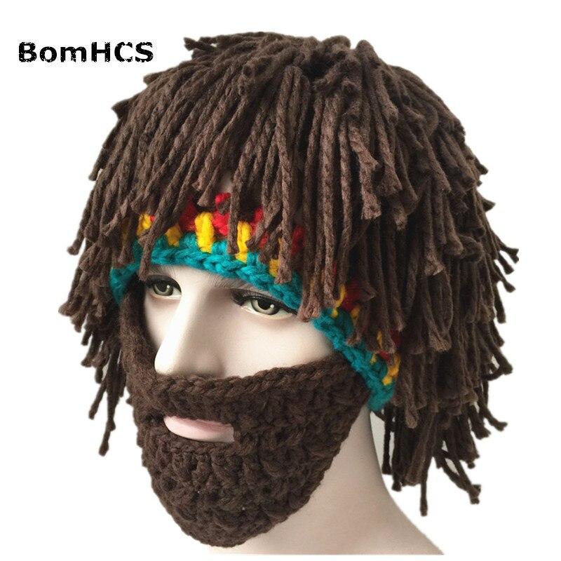 BomHCS COOL Party Cap Men's Head Barbarian Vagabond Beard Beanie Horn Hat Handmade Winter Warm Birthday Gift