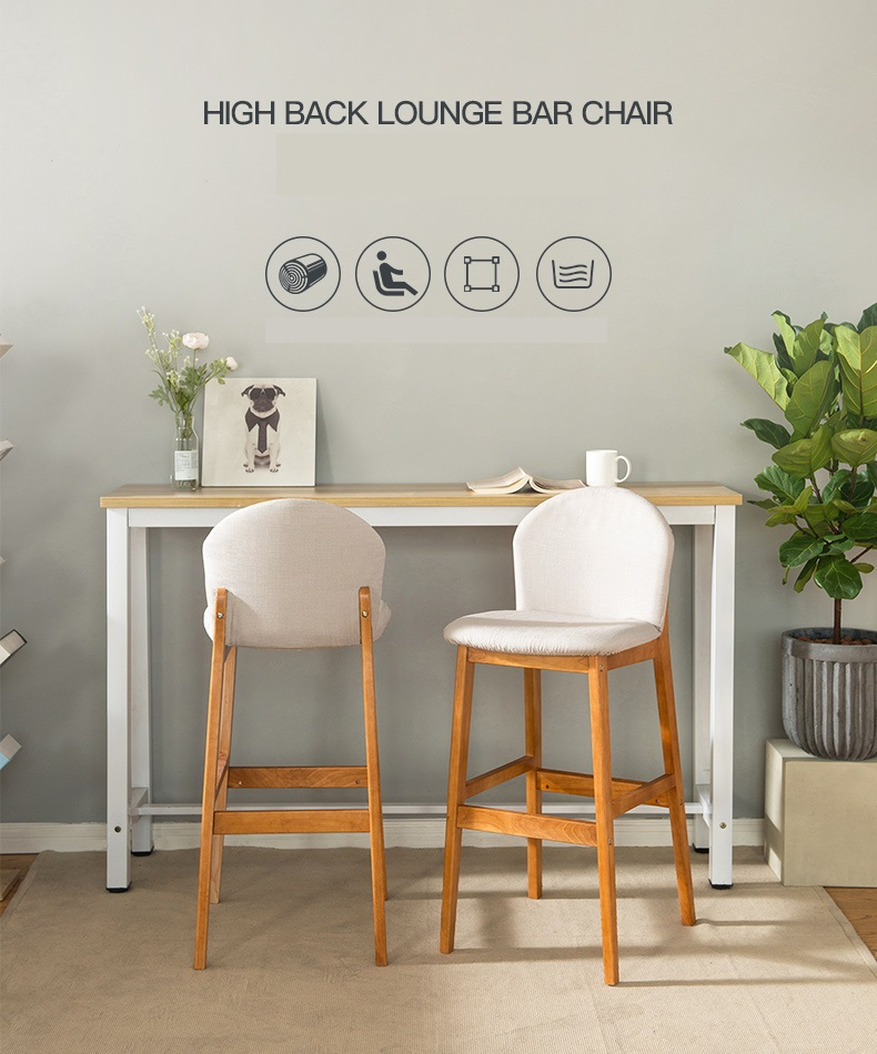 Solid Wood Bar Chair Modern Minimalist Bar High Stool Back Bar Stool Front Cash Register High Stool Home Bar Chair