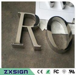 Наружная тонкая работа из нержавеющей стали буквы знак, зеркальная полированная нержавеющая сталь название компании буквы вывески