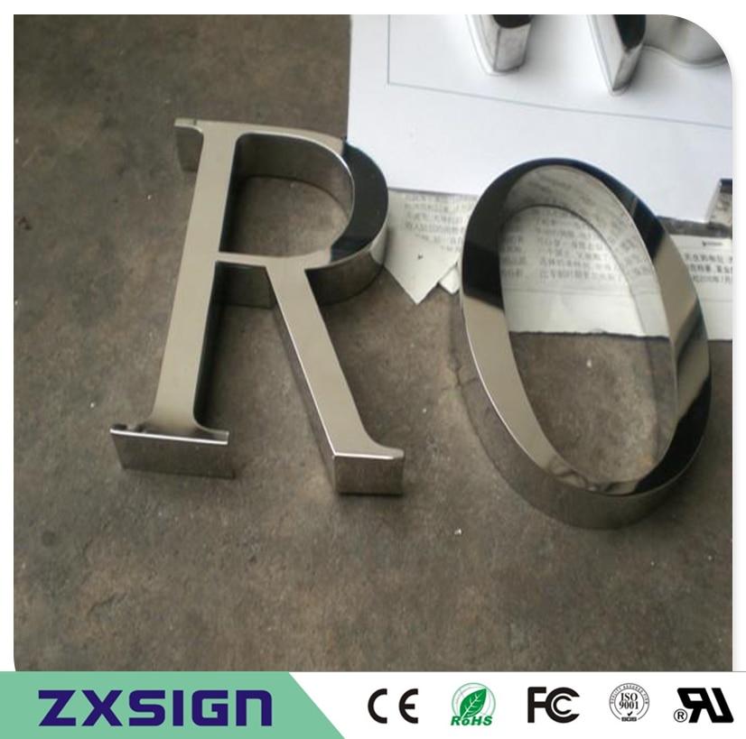 Наружное тонкое мастерство нержавеющая сталь надпись вывеска, зеркальная полированная нержавеющая сталь название компании буквы вывески