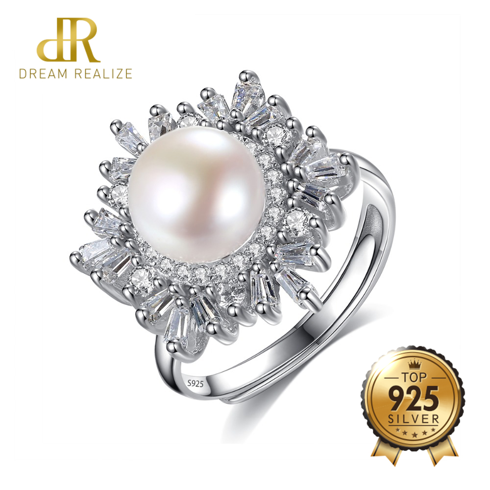 DR Brand Charms Pearl S925 Silver Rings with CZ Fine Jewellry for Women 2018 New Resizable Real 925 Sterling Silver Jewelry Gift