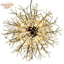 Crystal Chandelier Lighting Globe LED Glass Chandeliers Light Round Hanging Lamp Fixtures for Restaurant Living Dining Room(China)