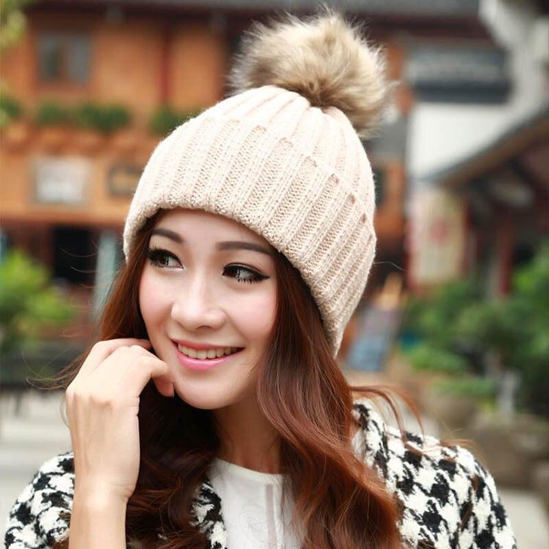 HQ 2017 New Women Winter Hats Beanies Knitd Caps Crochet Hat Rabbit Fur Pompons Ear Protect Casual Cap Chapeu Feminino NXH01193