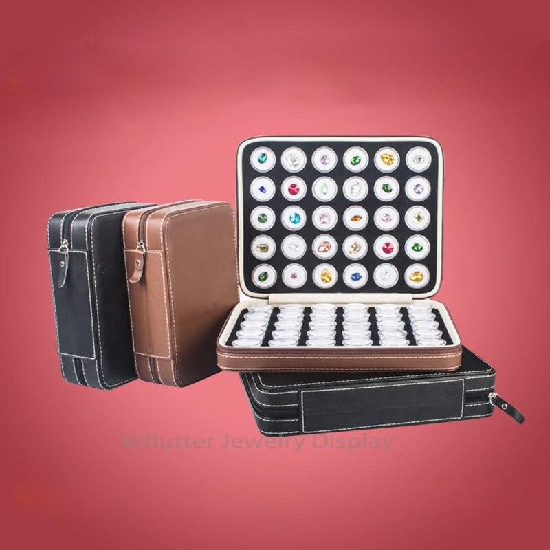 Leather Portable Gem Bag Pendant Display Travel Zipped Diamond Case Gemstone Box Stone Storage Bag Inside
