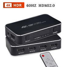 4K 60Hz HDMI 2,0 interruptor HDR soporte HDCP 2,2 y IR 4 Puerto 4K HDMI interruptor 2,0 4x1 Mini 4 en 1 interruptor de salida HDMI 2,0 para PS4 Apple TV(China)