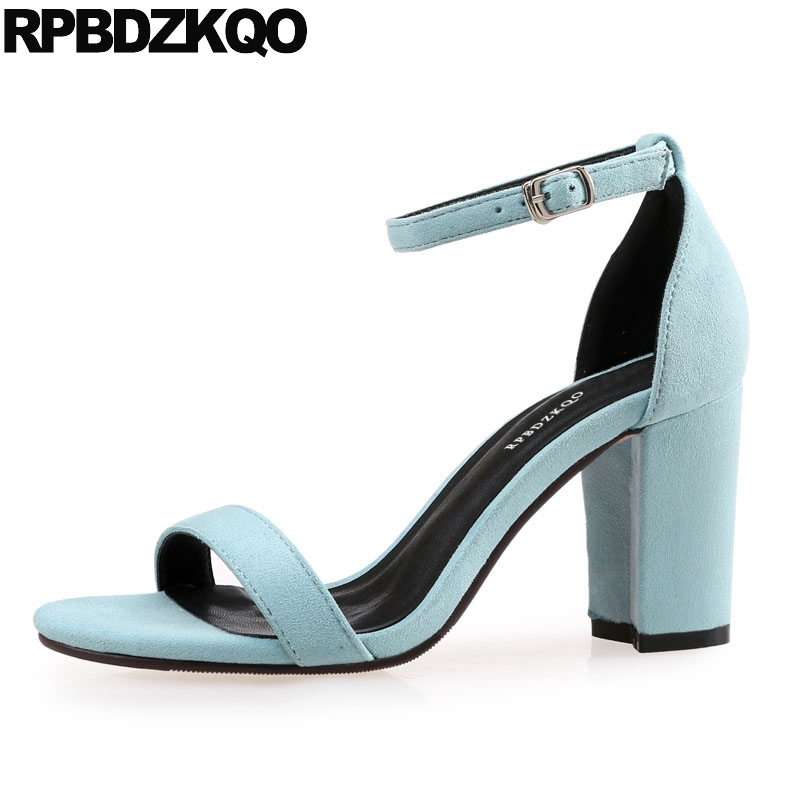 Large Size Silver Open Toe Heels Designer Ankle Strap Thick Shoes Pumps 2018 Chunky Korean Elegant Black Women Blue High Sandals summer new pointed thick chunky high heels closed toe pumps with buckle ankle wraps sweet sandals women pink black gray 34 40