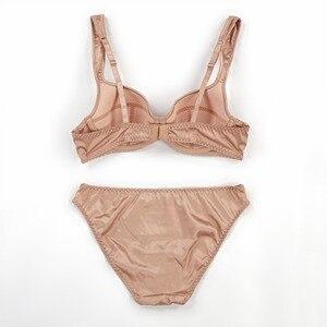 Image 4 - New arrival adjustment sexy thin bra set summer brassiere sets large size women underwear cotton breathing female lingerie