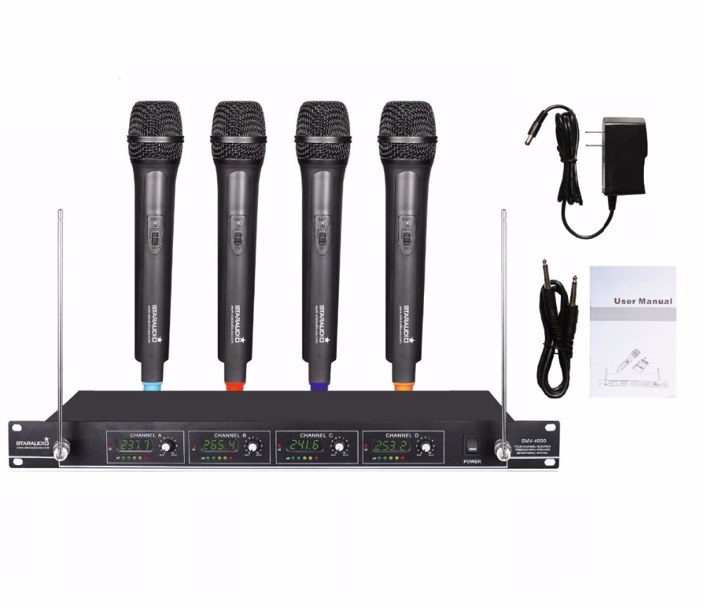 buy staraudio smv 4000a professional vhf wireless microphone system w 4. Black Bedroom Furniture Sets. Home Design Ideas