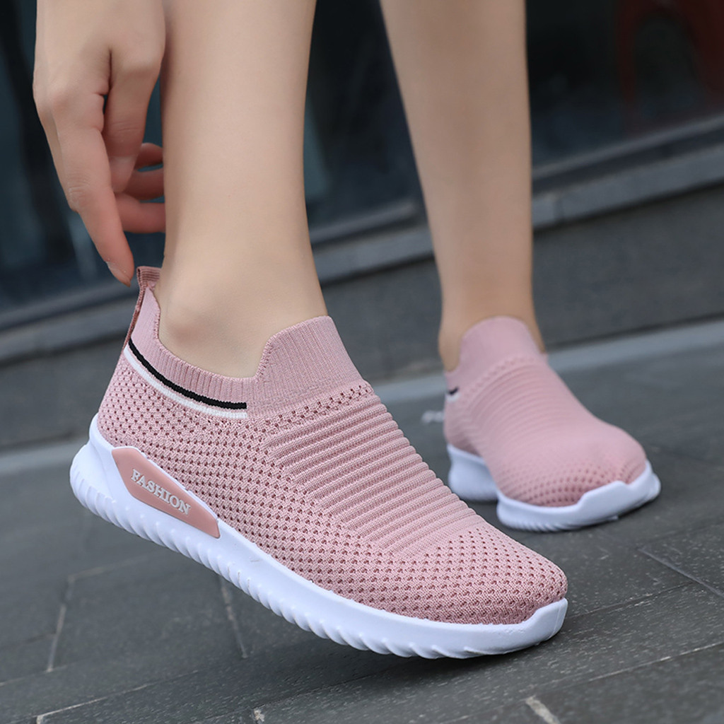 ISHOWTIENDA Breathable Runner Sports Sneakers Women's Leisure Breathable Mesh Outdoor Fitness Running Sport Sneakers Shoes#g4