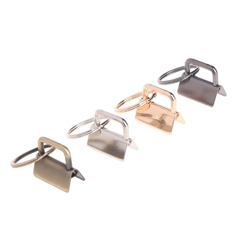 OOTDTY 10Pcs Key Fob Hardware 25mm Keychain Split Ring For Wrist Wristlets Cotton Tail Clip