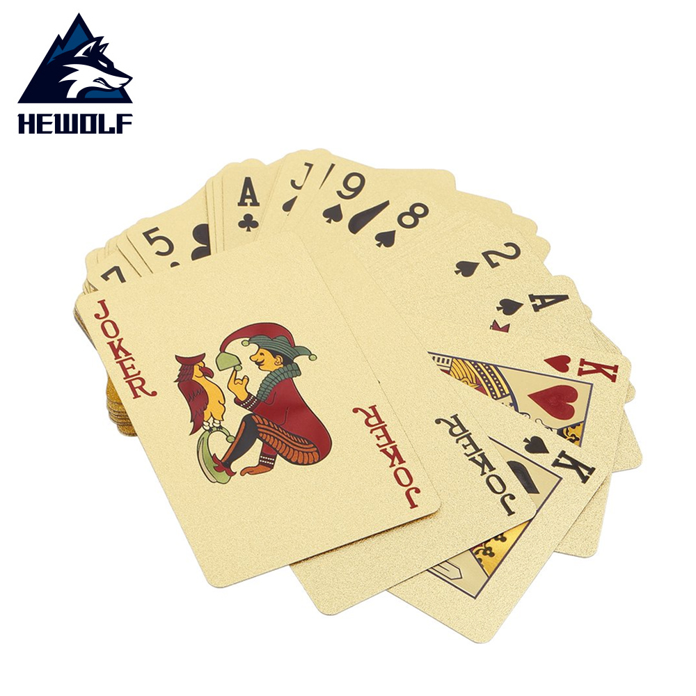 Hewolf Poker Cards PET/PVC Waterproof Plastic Luxury Foil Plated Playing Cards Party Games Grid /Euro Single-Side Color Edition