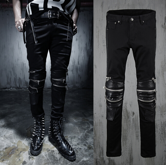 fashion  Mens personality slim trousers fight skin pu leather pants 4 colors