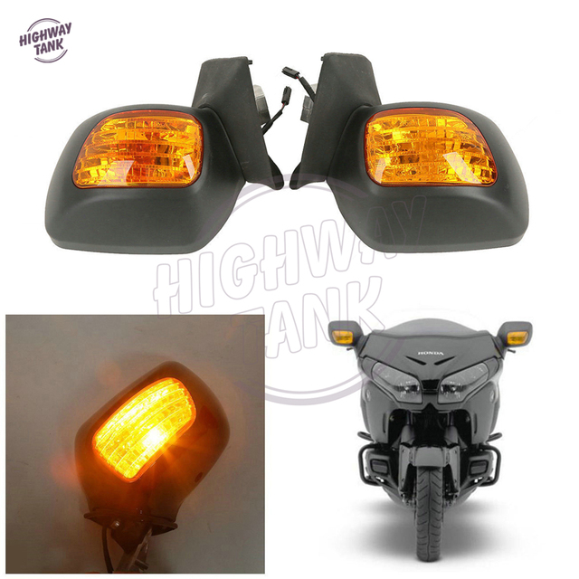 US $153 11 13% OFF|Matte Black Motorcycle Rear View Mirror Turn Signal  Light Case for Honda Goldwing GL1800 F6B 2013 2017-in Side Mirrors &