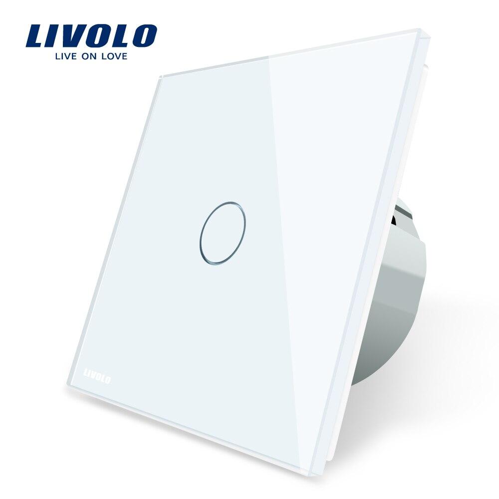 Livolo estándar de la UE interruptor de pared interruptor del tacto cristal blanco de lujo, 1 Gang 1 interruptor de modo, AC 220-250 C701-11/2/3/5