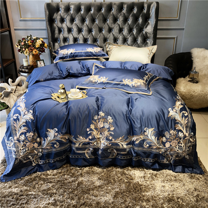 800TC Egyptain Cotton Duvet Cover Bed sheet set Embroidery Luxury Royal Bedding Set Queen king size